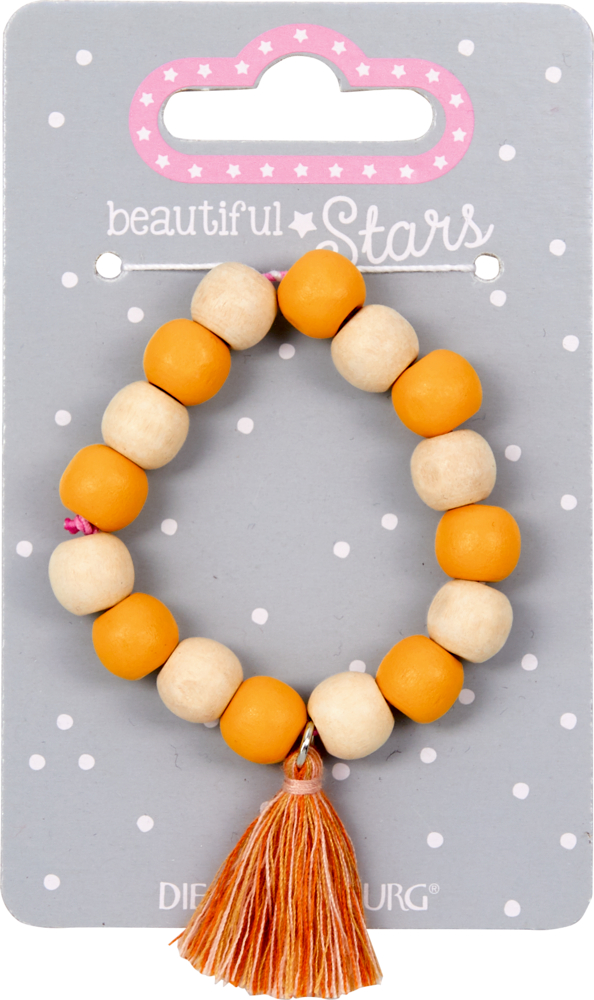 gelb, Holz-Armband mit Quaste beautiful Stars