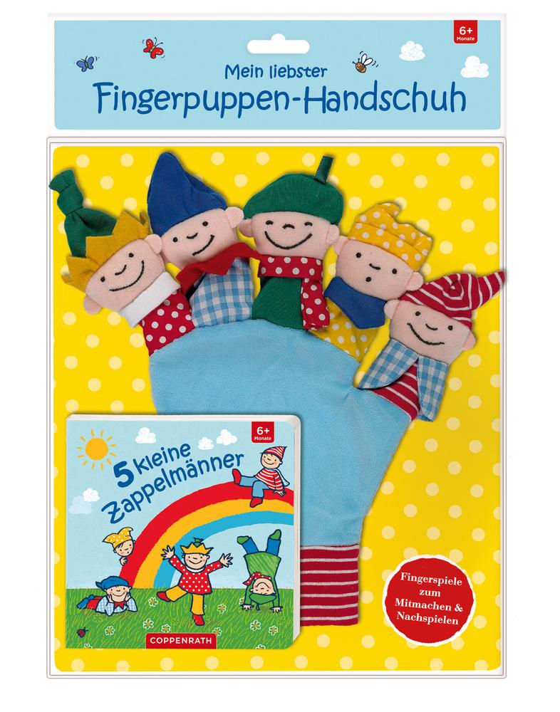 5 kleine Zappelmänner (Buch u. Fingerpuppen-Handschuh)