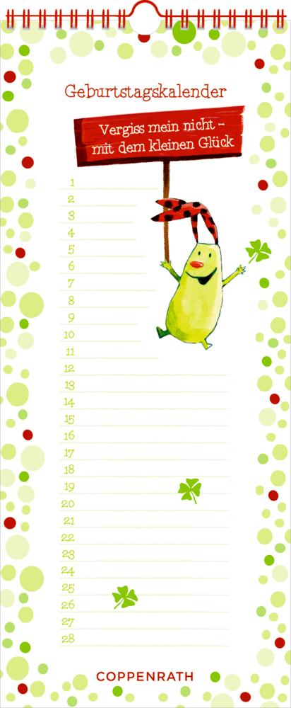 Immerwährender Geburtstagskalender: Vergiss mein nicht! (Das kleine Glück)