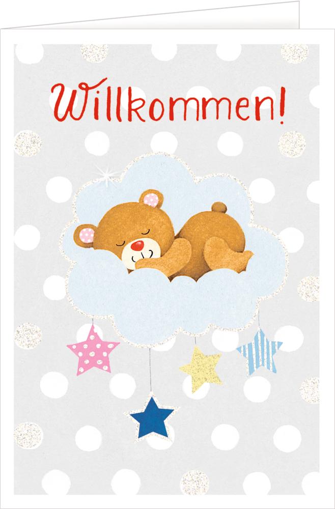 Bär, Grußkarte Willkommen BabyGlück