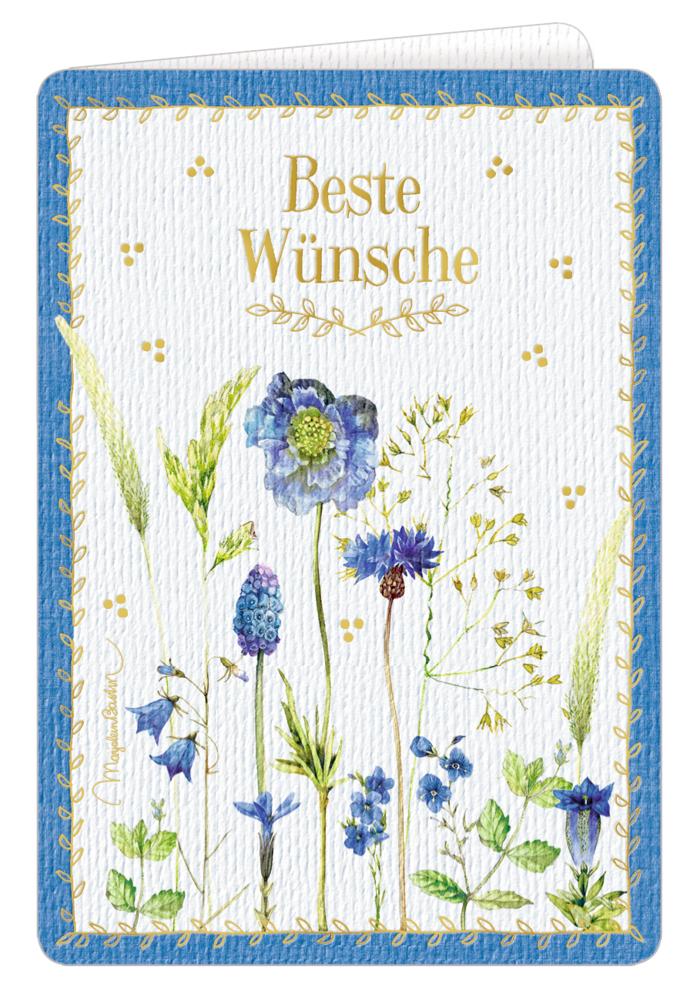 Zauberhafte Doppelgrußkarte blau (Bastin)