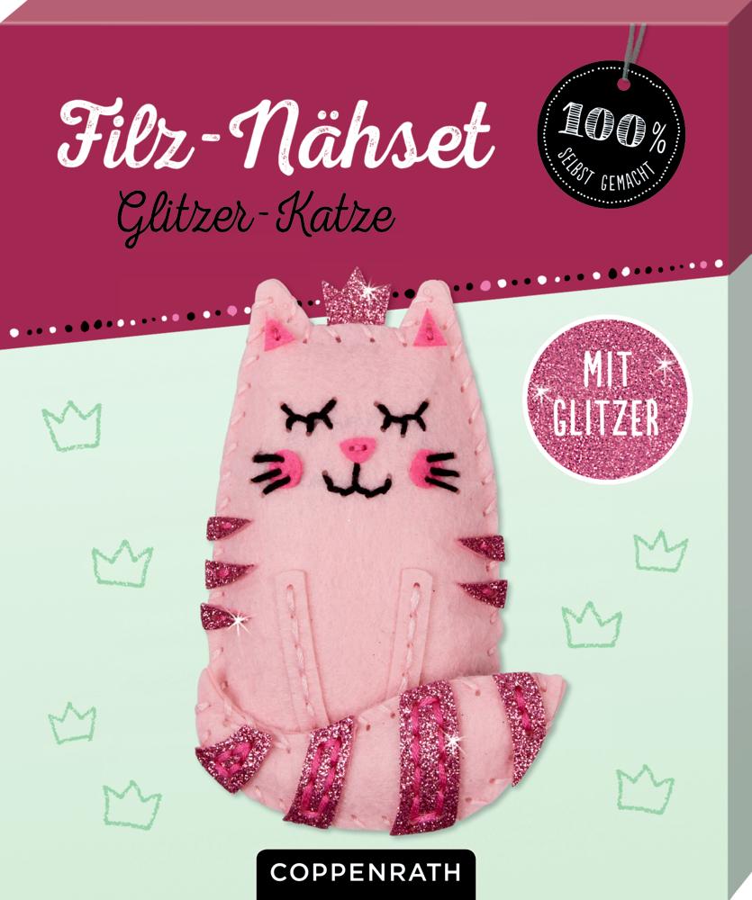 Filz-Nähset: Glitzer-Katze (100% selbst gemacht)