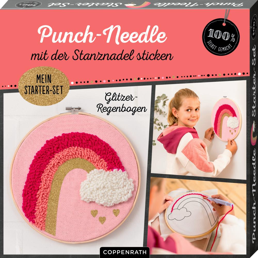 """Punch-Needle Starter-Set """"Glitzer-Regenbogen"""" (100% selbst gemacht)"""