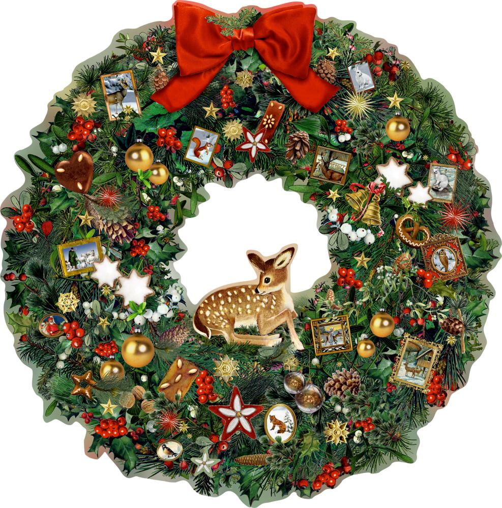 Kleiner Weihnachtskranz mit Reh, A3 Wand-Adventskalender (B.Behr)