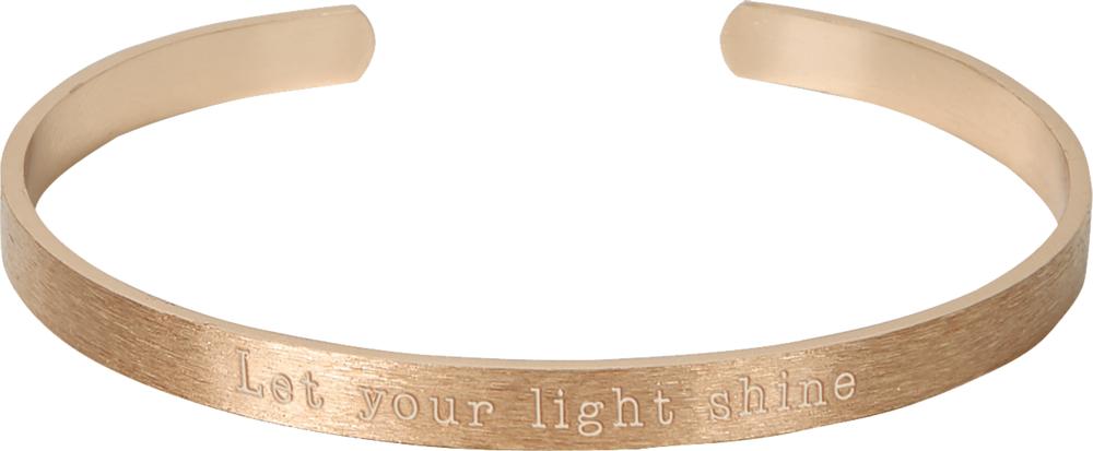 Armreif mit Botschaft - Let your light shine (rosévergoldet)