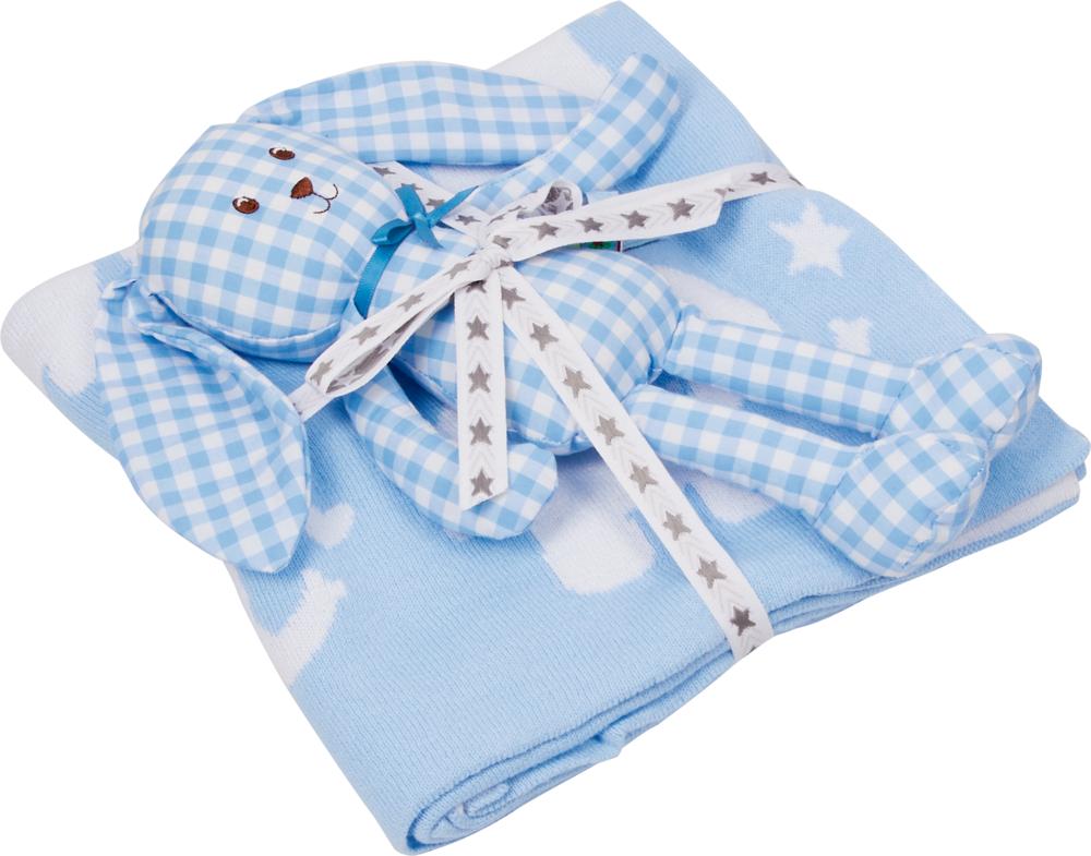 Geschenkset Strickdecke+Schlenker-Häschen, hellblau BabyGl.