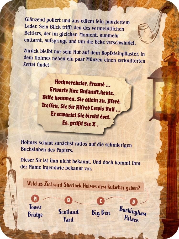 Sherlock Holmes - Escape-Spiel, Adv.-Schachtelspiel